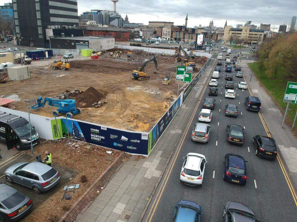 Aerial View of construction hoarding