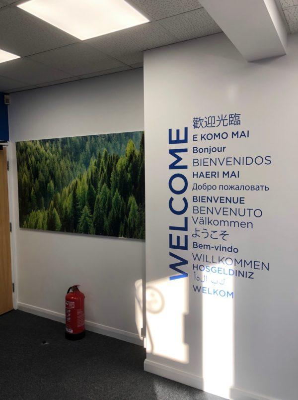 acrylic and wall text graphics