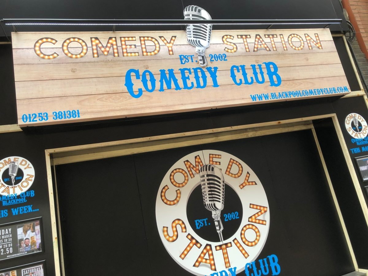 the comedy station blackpool signage