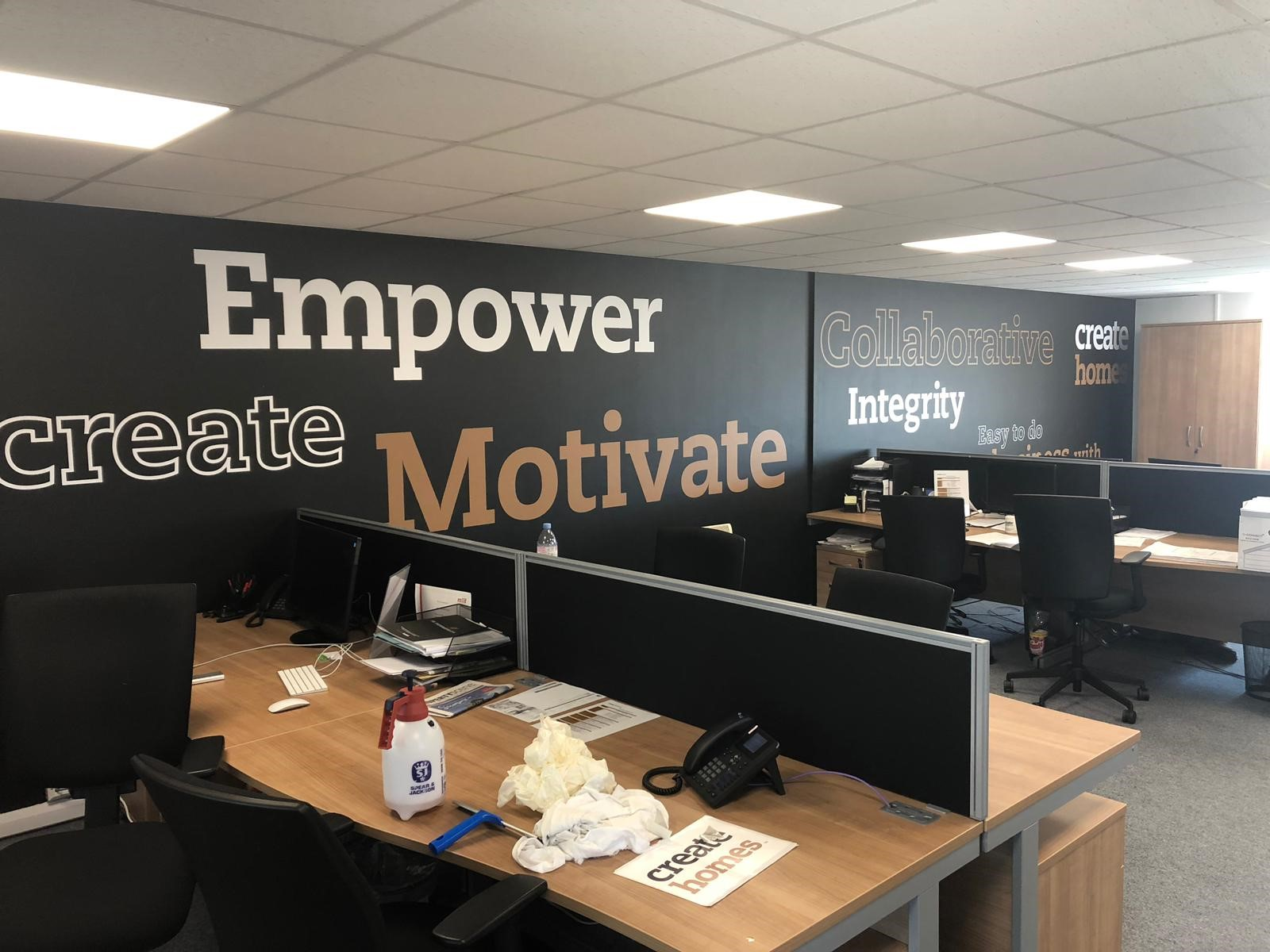 Internal Wall Lettering, Wall Graphics applied to Office Space Walls
