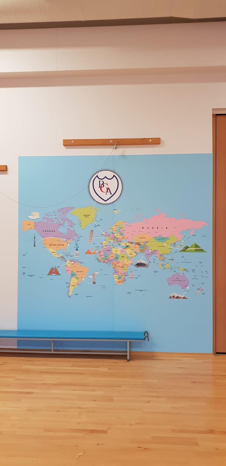 BGA World Map Wall Graphics Signage