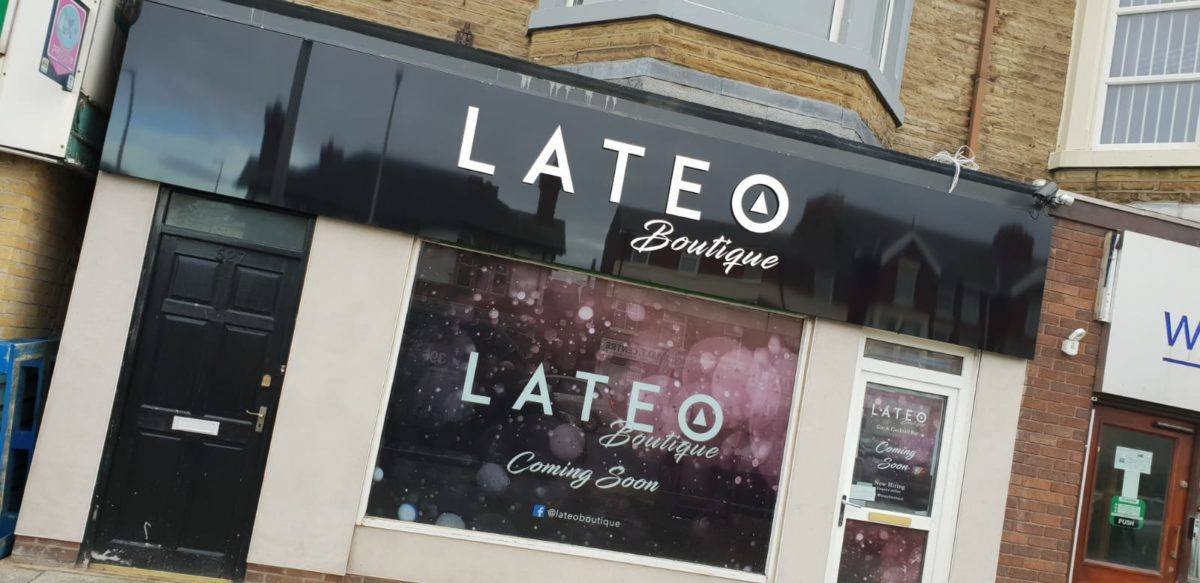 lateo boutique blackpool signage