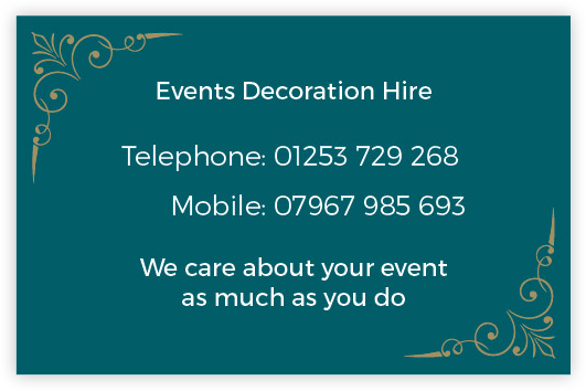 Events Decoration Hire Business Card