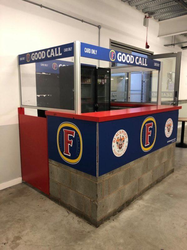 fosters bottle bar branding blackpool football club