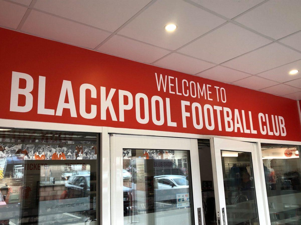 Internal Branding Welcome to Blackpool Football Club Signage